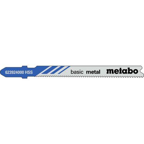 Metabo 5 lames de scie sauteuse « basic metal » 66/ 1,1-1,5 mm, progressives, HSS, avec pointe de perçage - 623924000
