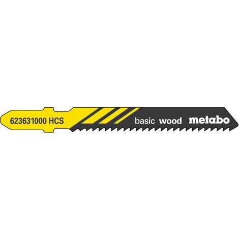 Metabo 5 lames de scie sauteuse « basic wood » 51/ 2,0 mm, HCS - 623631000