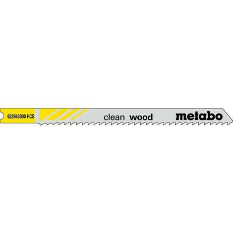 Metabo 5 lames de scie sauteuse « clean wood » en U 82/ 2,5 mm, HCS, queue universelle - 623943000