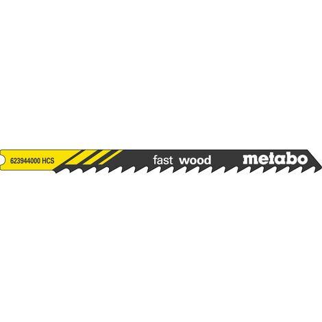 Metabo 5 lames de scie sauteuse « fast wood » en U 82/ 4,0 mm, HCS, queue universelle - 623944000