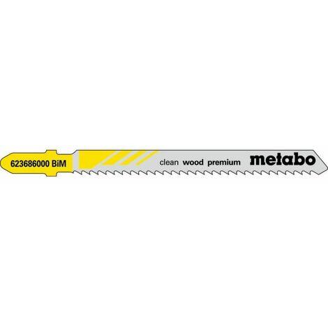 Metabo 5 lames de scies sauteuses, bois, profess. 74 / 2,5 mm (623686000)