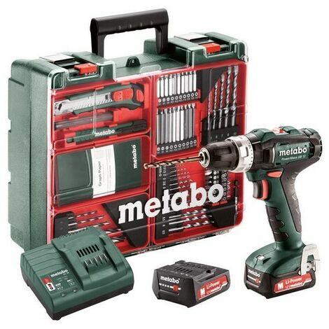 Metabo 601076870 Taladro percutor a bateria 12V 2x 2Ah Li-Ion PowerMaxx SB 12 Mobile Workshop Con maletín