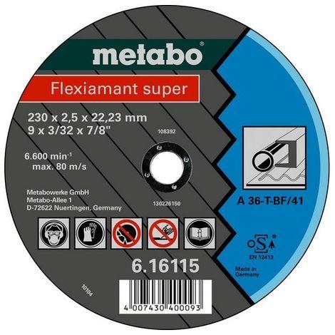 Metabo 616104000 Disco de tronzar embutido amoladora angular Flexiamant Super A36-T para metal 115x3x22,23 mm (Envase 25 Ud)