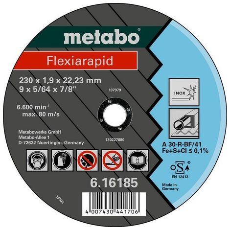Metabo 616181000 Disco de tronzar plano amoladora angular Flexiarapid A46-R para inoxidable 115x1,6x22,23 mm (Envase 25 Ud)