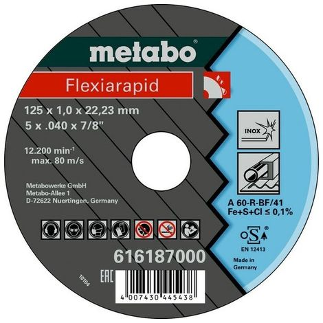 Metabo 616187000 Disco de tronzar plano amoladora angular Flexiarapid A60-R para inoxidable 125x1x22,23 mm (Envase 25 Ud)