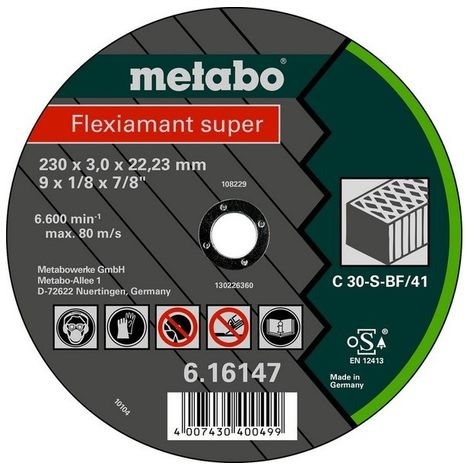 Metabo 616312000 Disco de tronzar embutido amoladora angular Flexiamant Super C30-S para piedra 125x2,5x22,23 mm (Envase 25 Ud)