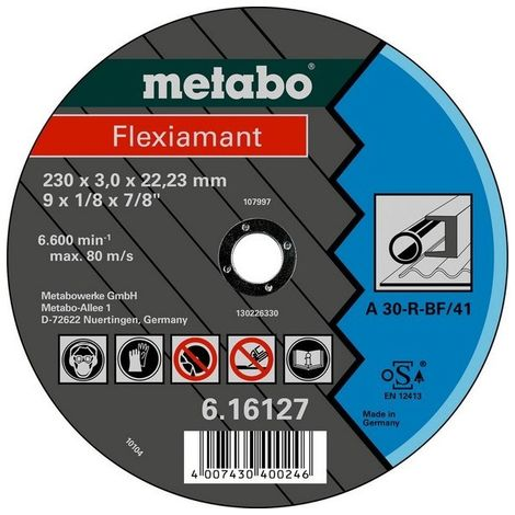 Metabo 616727000 Disco de tronzar embutido amoladora angular Flexiamant A30-R para metal 115x2,5x22,23 mm (Envase 25 Ud)
