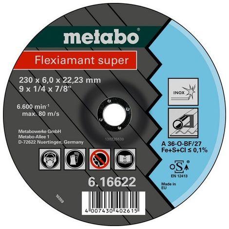 Metabo 616739000 Disco de desbaste amoladora angular Flexiamant Super A36-O para acero inox 115x6x22,23 mm (Envase 25 Ud)