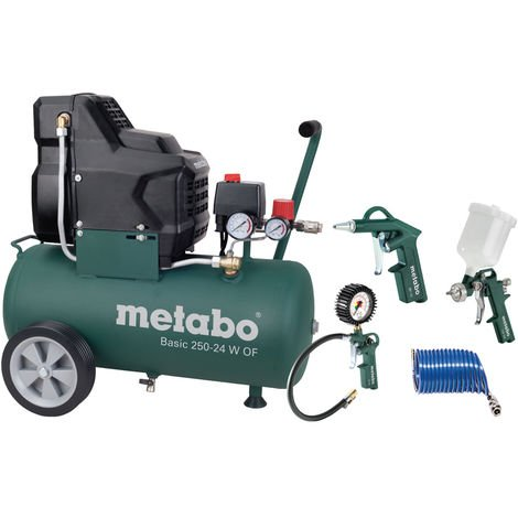 Metabo Basic 250-24 W OF SET Compresor + Set de accesorios LPZ-4 - 1500W - 8 bar - 24L - 100 l / min