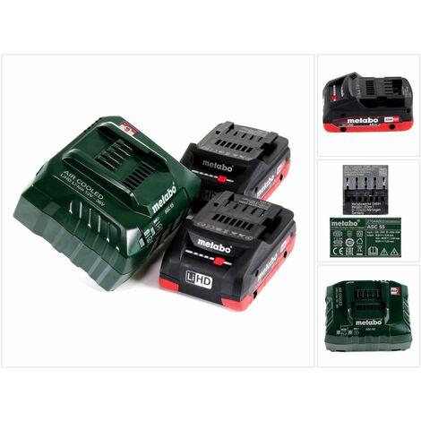 Metabo Basis Set 18V - 2x Batteries LiHD 4,0Ah( 625367000 ) + Chargeur ASC 55 ( 627044000 )
