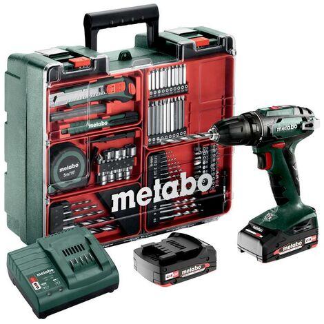Metabo BS 18 Set Trapano-avvitatore a batteria, 18V 2x2Ah Li-Ion, Caricabatteria SC 30, Valigetta in plastica, Officina mobile - 602207880