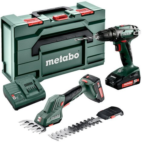 Metabo COMBO SET 2.2.5 18V (685186000) MACHINES SANS FIL EN SET cisaille à gazon sans fil SGS 18 LTX Q et Perceuse-visseuse BS 18