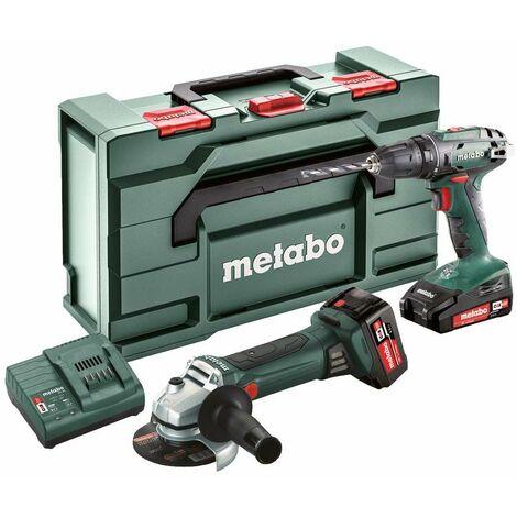 Metabo Combo Set 2.4.3 18V, Machines sans fil en set, coffret, BS 18 + W 18 LTX 125 Quick, Li-Power batteries (18 V/2,0 Ah/4,0 Ah) - 685082000