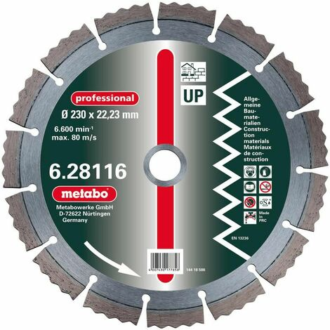 """Metabo Diamant-Trennscheibe, 230 x 2,5 x 22,23 mm, """"professional"""", """"UP"""", Universal - 628116000"""