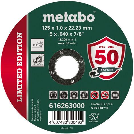 Metabo Disques à découper 125 mm, INOX, édition limitée, 10 pièces