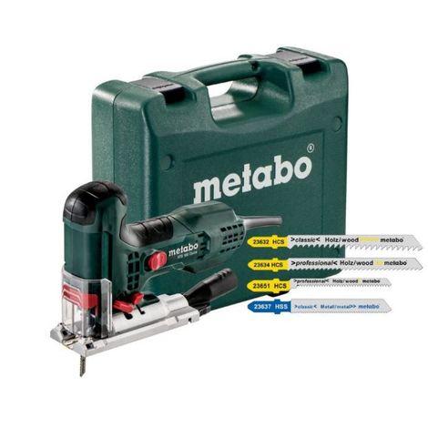 METABO Elektronik-Pendel-Stichsäge STE 100 Quick Set mit 20 Stichsägeblättern (601100900); Kunststoffkoffer