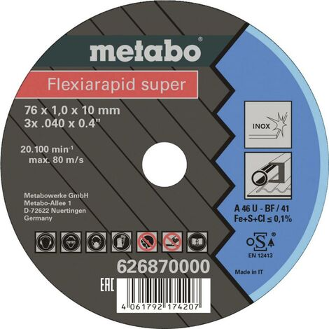 """main image of """"Metabo Flexiarapid Super 626870000 Disque à tronçonner 76 mm 10 mm 1 pc(s)"""""""