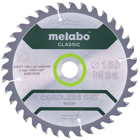 """Metabo - Hoja de sierra circular """"madera cortada sin cable"""" clásica 165x1,6x20 mm 36 dientes WZ"""