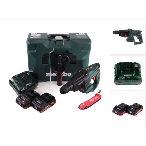 Metabo KHA 18 LTX Perforateur burineur sans fil 18V 2,2J SDS Plus + 2x Batteries 4,0 Ah + Chargeur + Coffret de transport MetaLoc ( 600210910 )