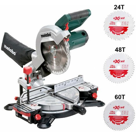 Metabo KS216M Lasercut Compound Crosscut Mitre Saw 240V Extra 3 x Blades:240V