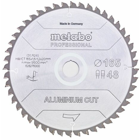 Metabo Lame de scie 'Aluminium cut - Professional', 190x30 Z52 FZ/TZ 5°neg - 628296000