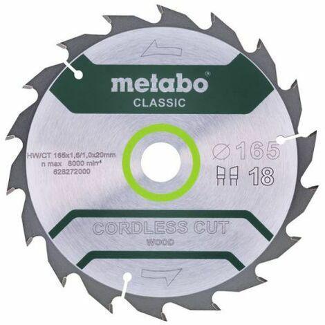 Metabo Lame de scie circulaire HW/CT 165 x 20, nombre de dents 18, classic (628272000)