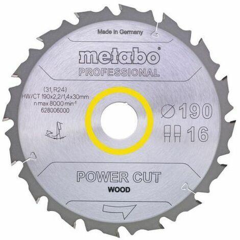 Metabo Lame de scie circulaire hw/ct 190 x 30, 14 wz 25° (628005000)