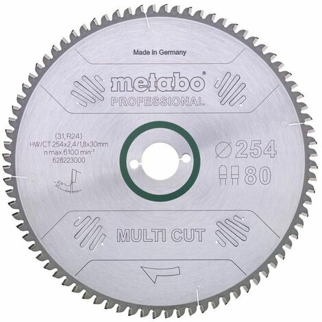 Metabo Lame de scie circulaire HW/CT 250 x 30, 80 FZ/TZ, 5° nég.