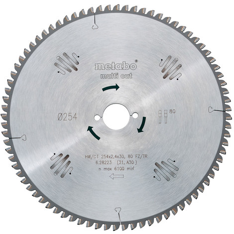 Metabo - Lame de scie circulaire HW/CT 250x2,8x30 mm 80 WZ