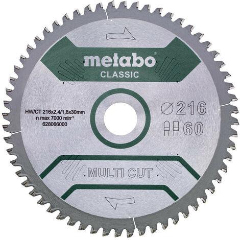 Metabo - Lame de scie circulaire «multi cut» classic 216x2.4x30 mm 60 dents FZ/TZ