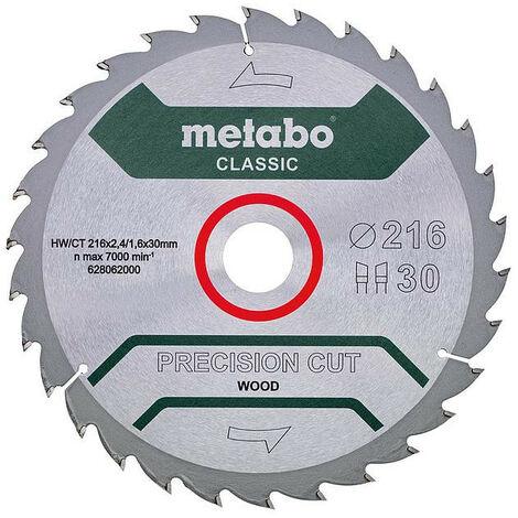 Metabo - Lame de scie circulaire Precision Cut Wood Classic 216x2.4x30 mm 30 dents - TNT