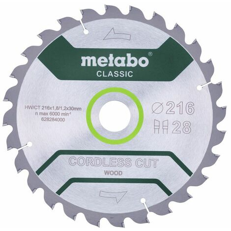 "Metabo Lame de scie ""cordless cut wood - classic"", 216x1,8/1,2x30 Z28 WZ 5° - 628284000"