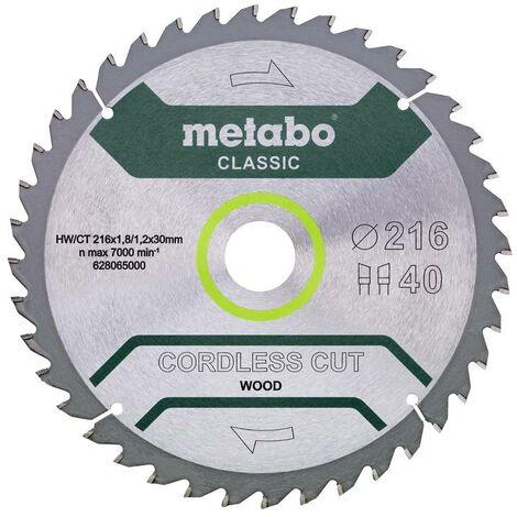 Metabo Lame de scie 'Cordless cut wood - Classic', 216x30 Z40 WZ 5° - 62806500