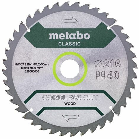Metabo Lame de scie 'Cordless cut wood - Classic', 216x30 Z40 WZ 5° /B - 628654000