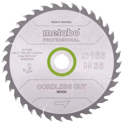 Metabo Lame de scie 'Cordless cut wood - Professional', 165x20 mm, Z36, WZ, 15° - 628295000