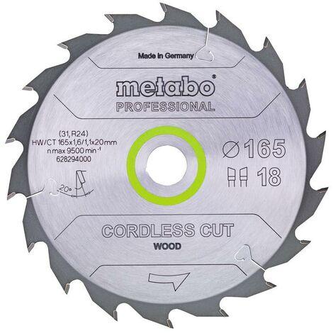 Metabo Lame de scie 'Cordless cut wood - Professional', 165x20 Z18 WZ 20° - 628294000