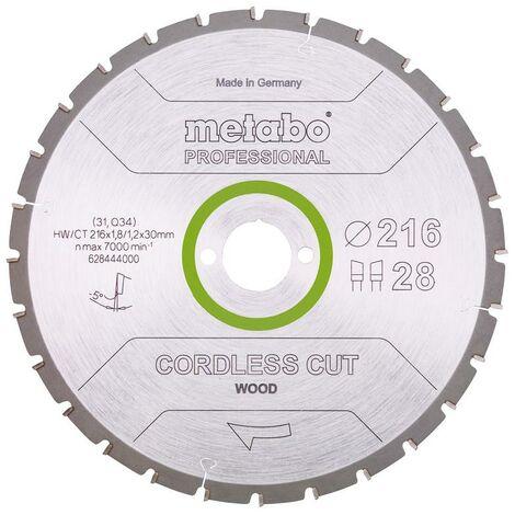 Metabo Lame de scie 'Cordless cut wood - Professional', 216x30 mm, Z28 WZ 5°neg - 628444000