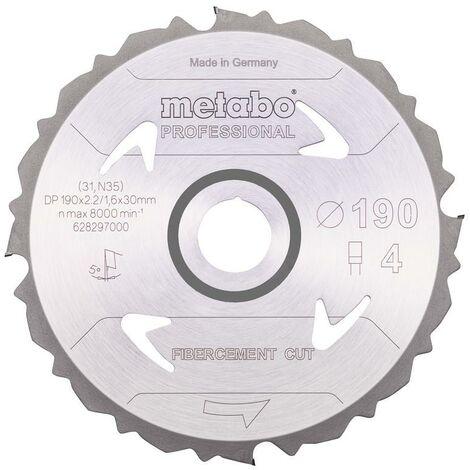 Metabo Lame de scie 'Fibercement cut - Professional', 190x30 Z4 DFZ 5° - 628297000