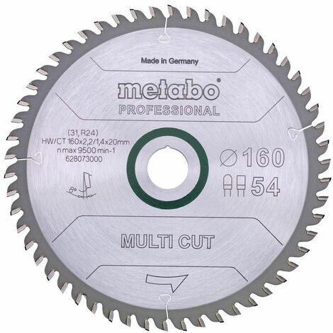 Metabo Lame de scie 'Multi cut - Professional', 165x20 Z54 FZ/TZ 5° - 628293000
