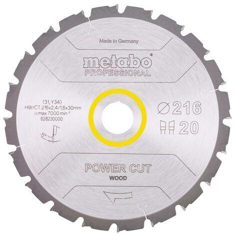 Metabo Lame de scie 'Power cut wood - Professional', 216x30, Z20 WZ 5° nég. - 628230000