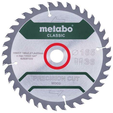 Metabo Lame de scie 'Precision cut wood - Classic', 165x20 Z36 WZ 15° - 628281000