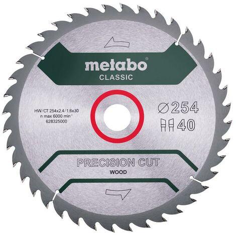 "Metabo Lame de scie ""Precision cut wood - Classic"" 254x2,4/1,6x30, Z40 WZ 20° - 628325000"