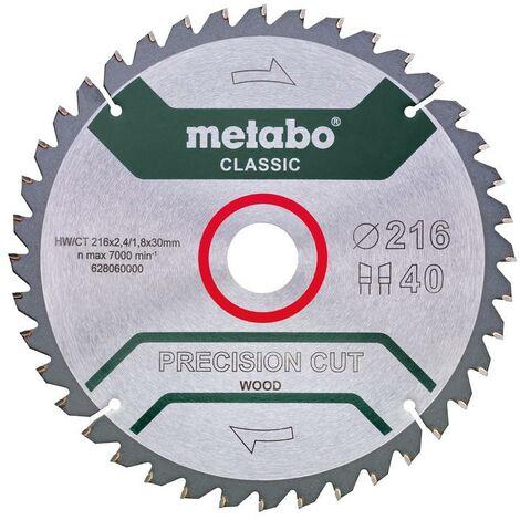 "Metabo Lame de scie ""Precision cut wood - Classic"", 254x2,4/1,6x30, Z40 WZ 20° /B - 628326000"