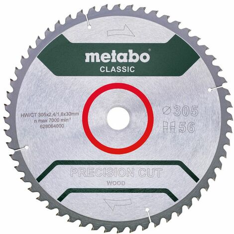Metabo Lame de scie « precision cut wood - classic », 305x30, Z56 WZ 5° nég - 628064000