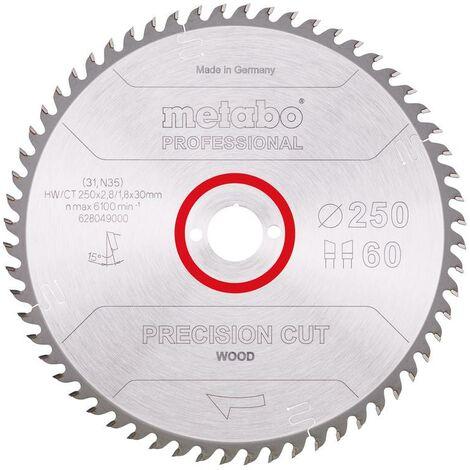 Metabo Lame de scie 'Precision cut wood - Professional', 250x30, Z60 WZ 15° - 62804900