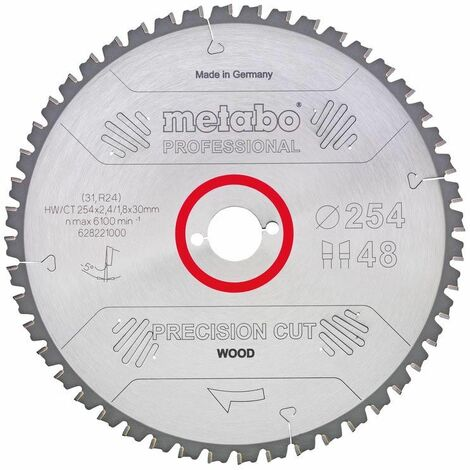 Metabo Lame de scie 'Precision cut wood - Professional', 250x30, Z60 WZ 5° nég. - 62804800
