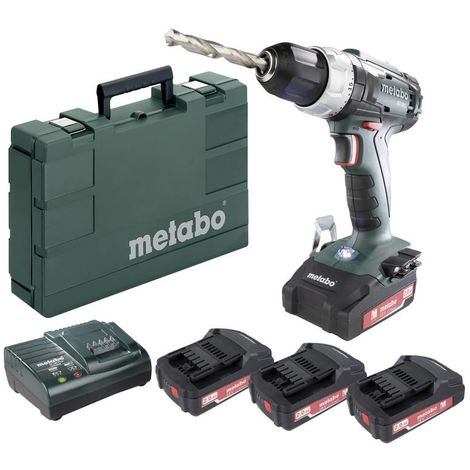 Metabo Perceuse tournevis sans fil 18V Li-ion - 3 batteries de rechange incluses 18V 2,0 Ah