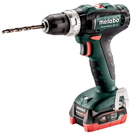 METABO Perceuse visseuse percu 12V 2x4.0Ah PowerMaxx SB - 601076800