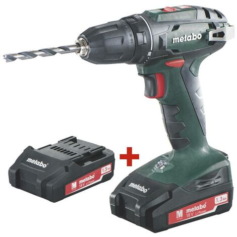 Metabo Perceuse-visseuse sans fil BS 18 - 2 batteries Li-Ion 18V 1,3Ah, chargeur SC60 Plus, mallette