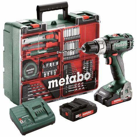 Metabo Perceuse-visseuse sans fil BS 18 L Set 18V 2x2Ah Li-Ion, Chargeur SC 30, Coffret, Atelier mobile - 602321870